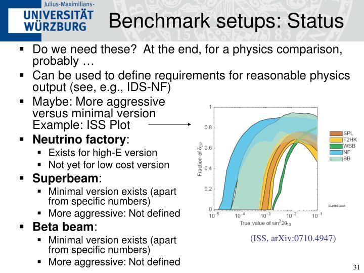 Benchmark setups: Status