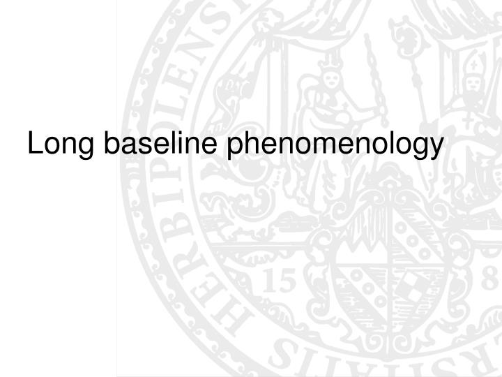 Long baseline phenomenology