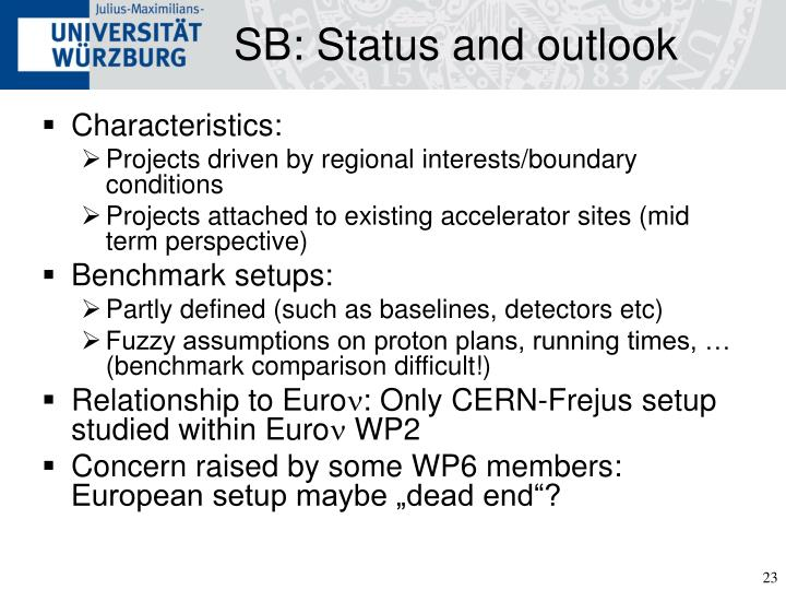 SB: Status and outlook