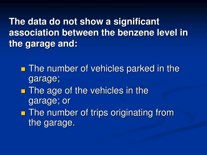The data do not show a significant association between the benzene level in the garage and: