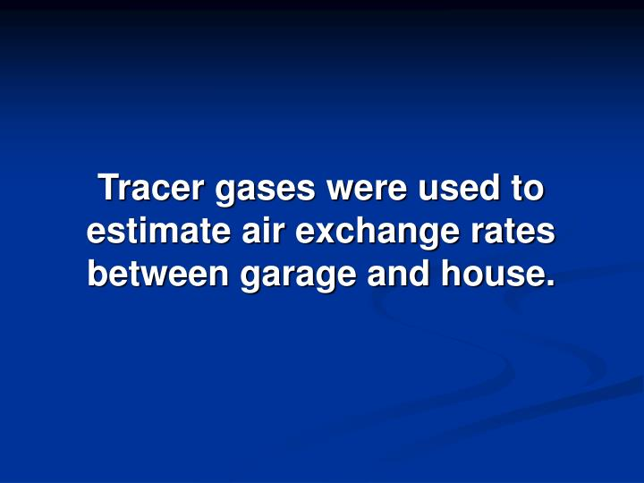 Tracer gases were used to estimate air exchange rates between garage and house.