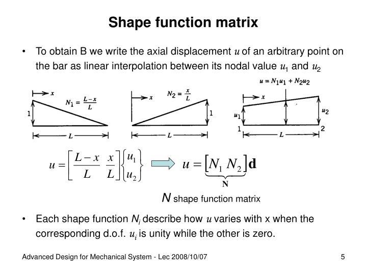 Shape function matrix