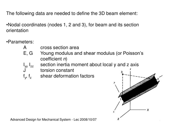 The following data are needed to define the 3D beam element: