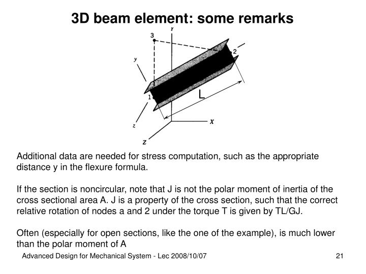 3D beam element: some remarks