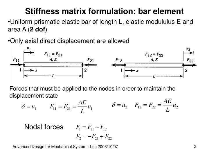 Stiffness matrix formulation: bar element