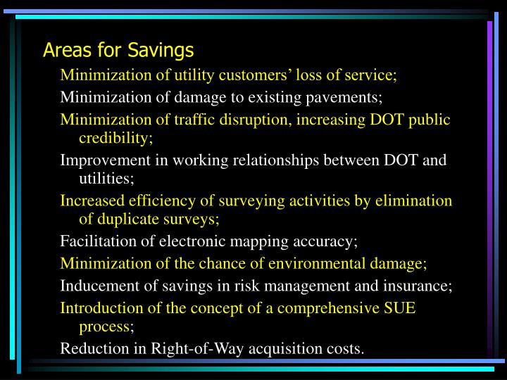 Areas for Savings