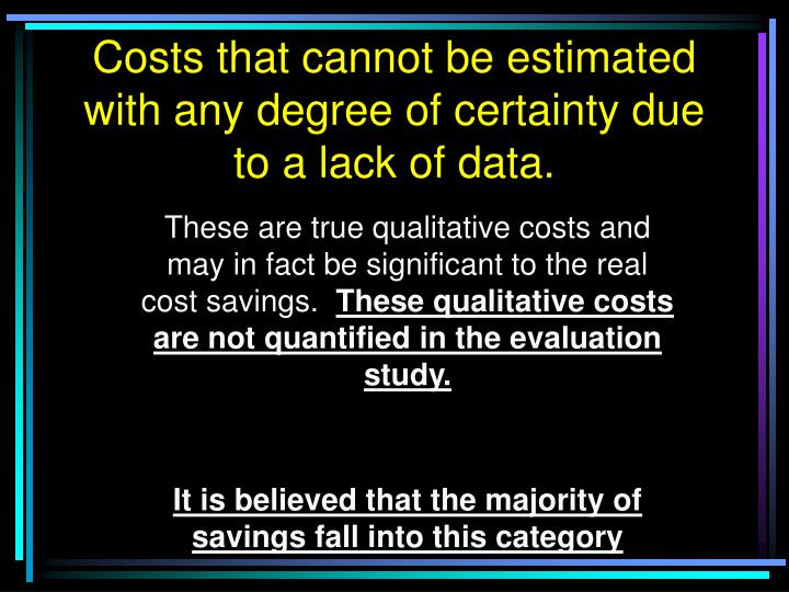 Costs that cannot be estimated with any degree of certainty due to a lack of data.