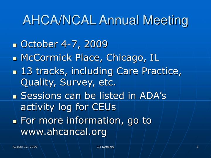Ahca ncal annual meeting