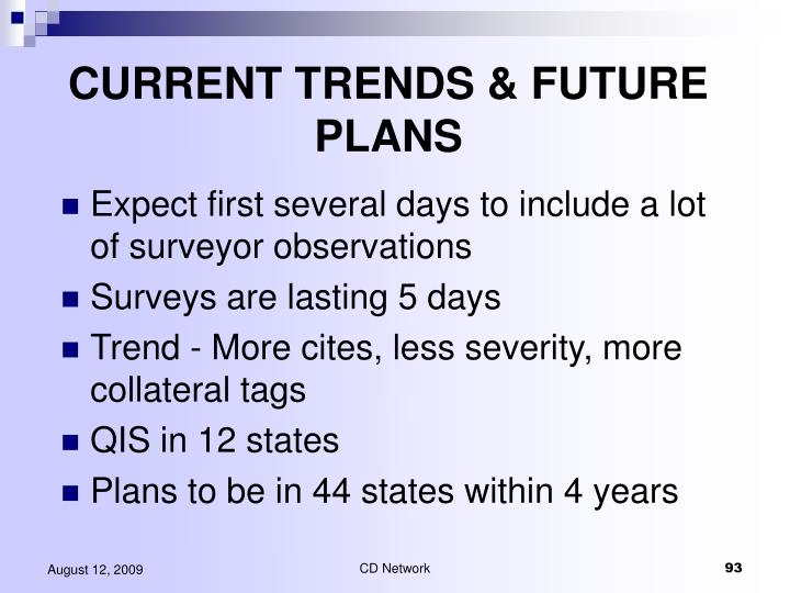 CURRENT TRENDS & FUTURE PLANS