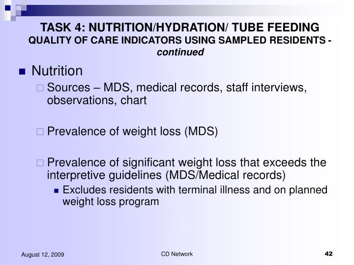 TASK 4: NUTRITION/HYDRATION/ TUBE FEEDING