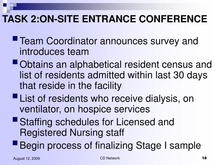 TASK 2:ON-SITE ENTRANCE CONFERENCE