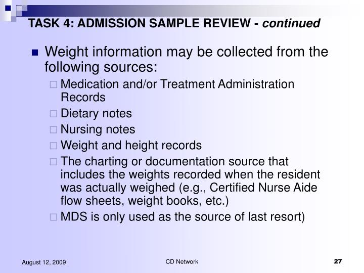 TASK 4: ADMISSION SAMPLE REVIEW -