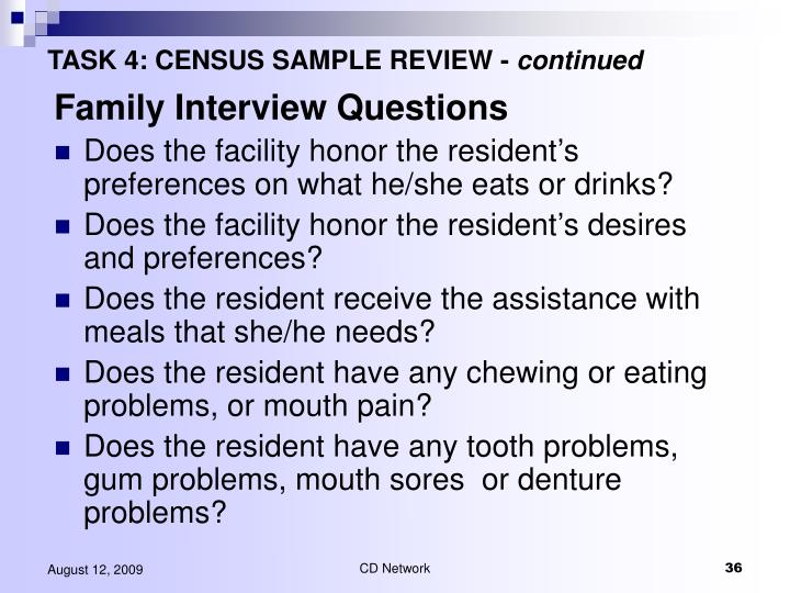 TASK 4: CENSUS SAMPLE REVIEW -