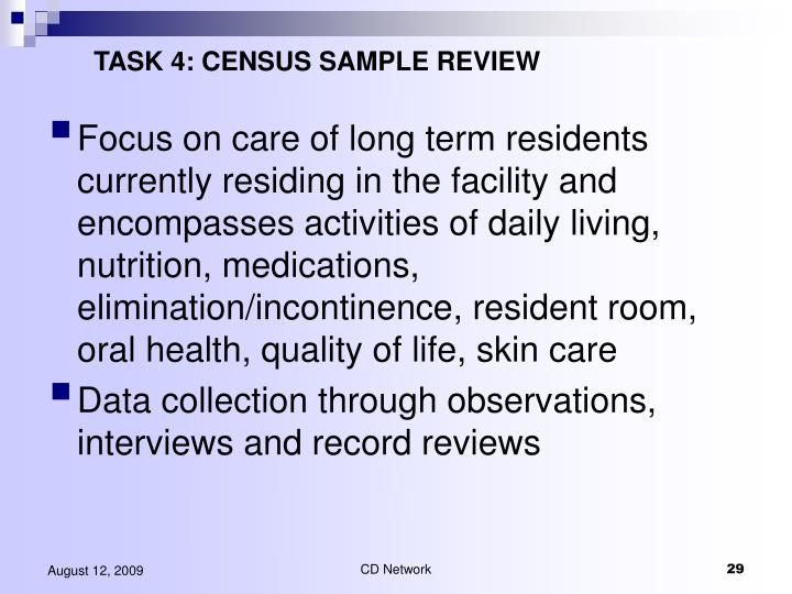 TASK 4: CENSUS SAMPLE REVIEW