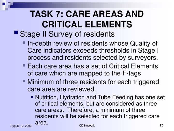 TASK 7: CARE AREAS AND CRITICAL ELEMENTS
