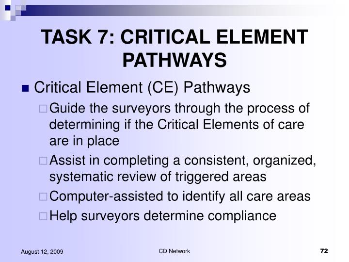 TASK 7: CRITICAL ELEMENT PATHWAYS