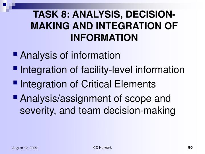 TASK 8: ANALYSIS, DECISION-MAKING AND INTEGRATION OF INFORMATION