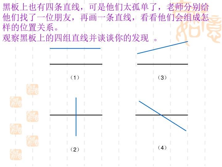 黑板上也有四条直线,可是他们太孤单了,老师分别给他们找了一位朋友,再画一条直线,看看他们会组成怎样的位置关系。