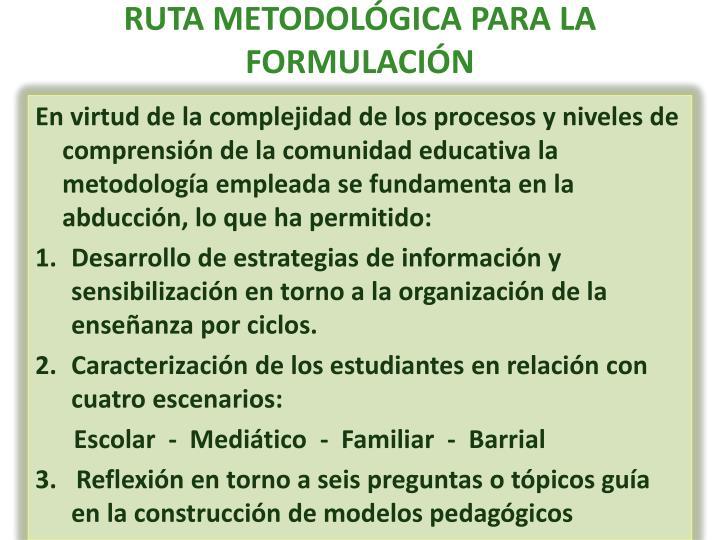 RUTA METODOLÓGICA PARA LA FORMULACIÓN
