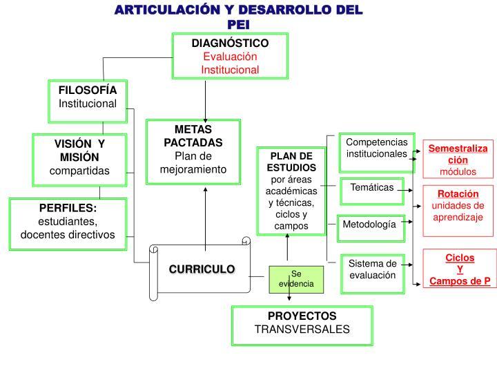 ARTICULACIÓN Y DESARROLLO DEL PEI