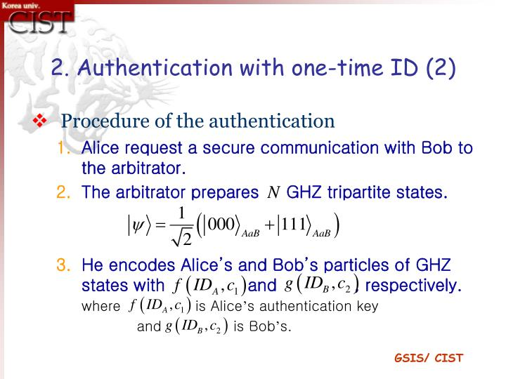 2. Authentication with one-time ID (2)