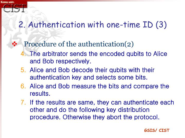 2. Authentication with one-time ID (3)