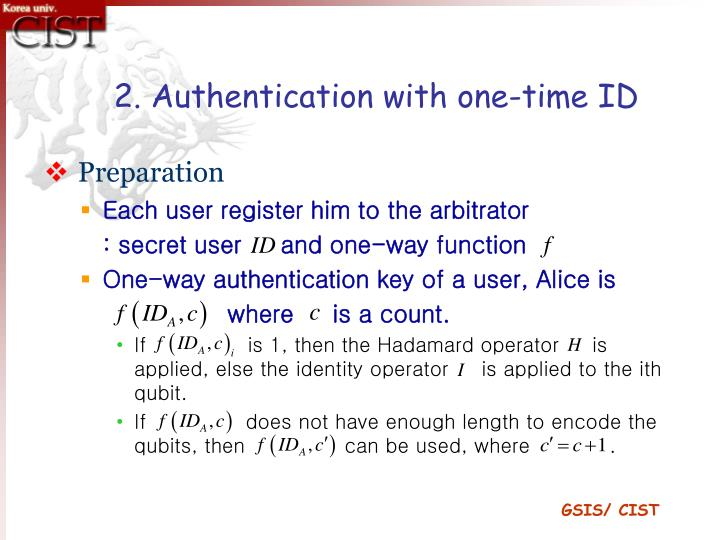 2. Authentication with one-time ID