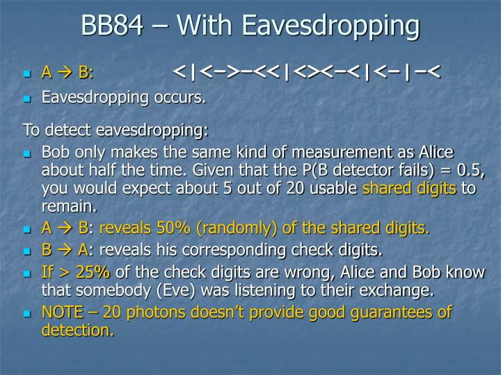 BB84 – With Eavesdropping