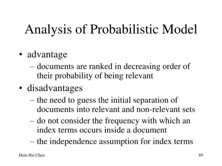 Analysis of Probabilistic Model