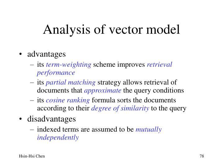 Analysis of vector model