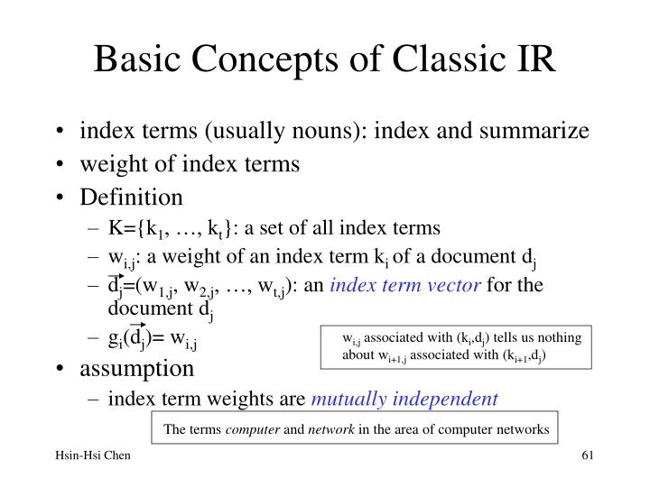 Basic Concepts of Classic IR
