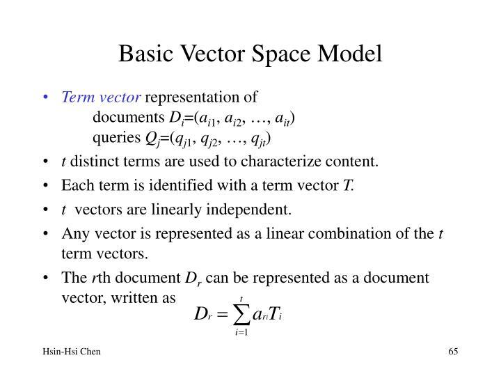 Basic Vector Space Model