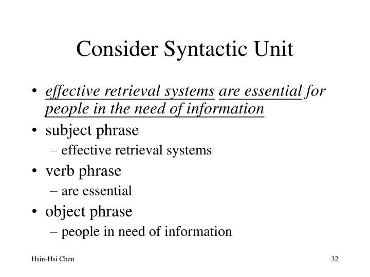 Consider Syntactic Unit