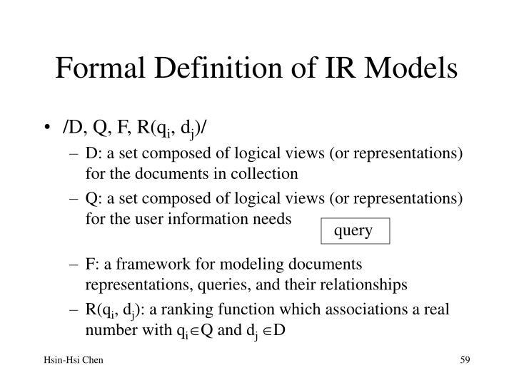 Formal Definition of IR Models