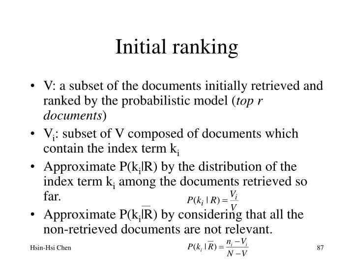 Initial ranking
