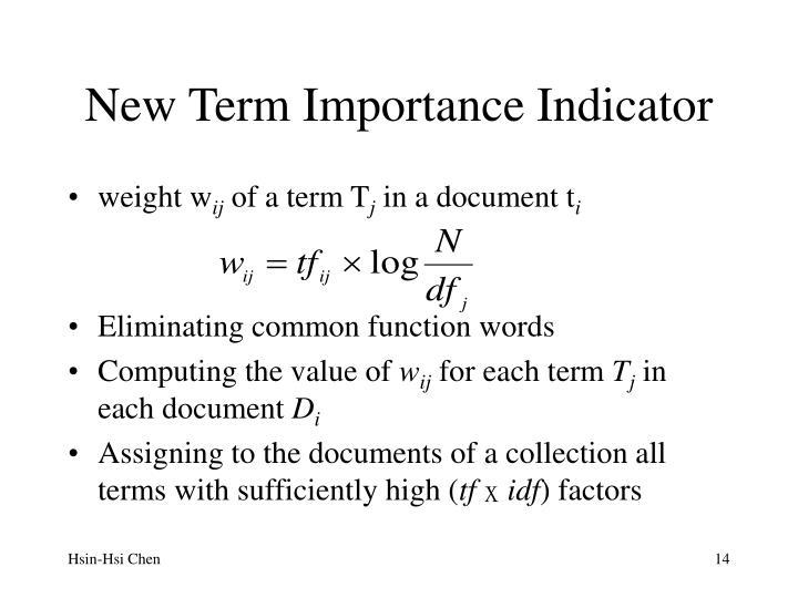 New Term Importance Indicator