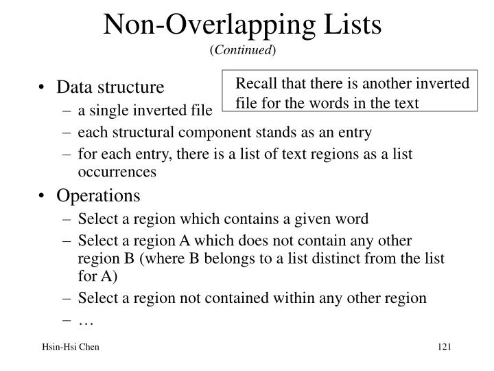 Non-Overlapping Lists