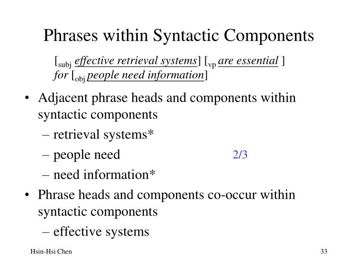 Phrases within Syntactic Components