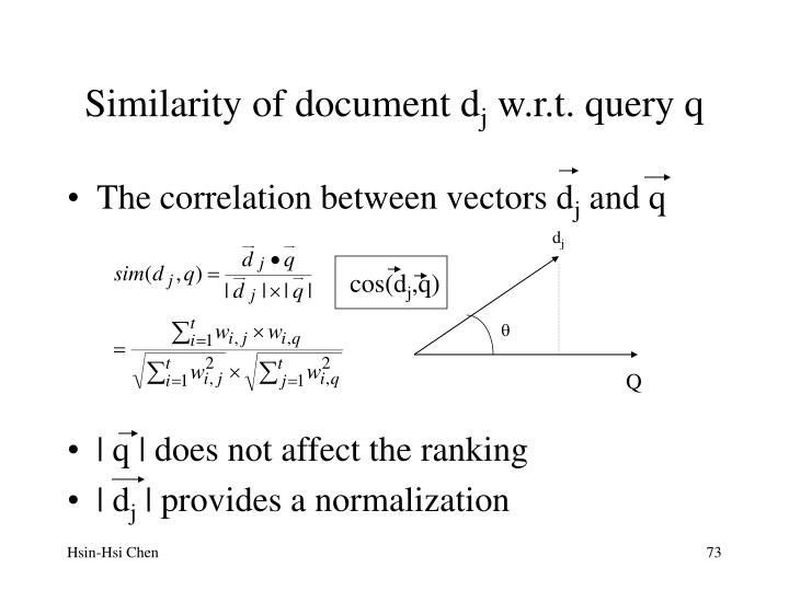 Similarity of document d