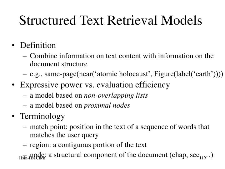 Structured Text Retrieval Models