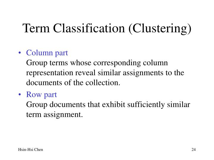 Term Classification (Clustering)
