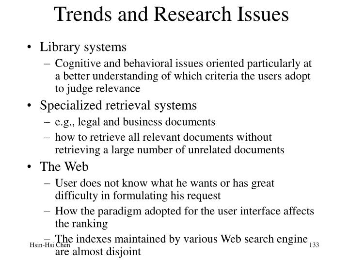 Trends and Research Issues