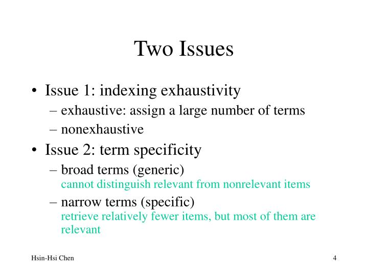 Two Issues