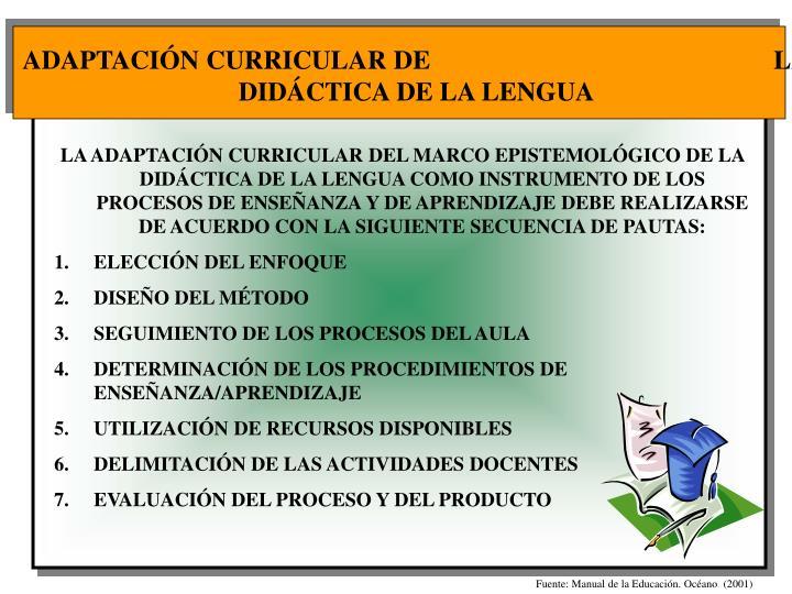ADAPTACIÓN CURRICULAR DE                                                    LA DIDÁCTICA DE LA LENGUA