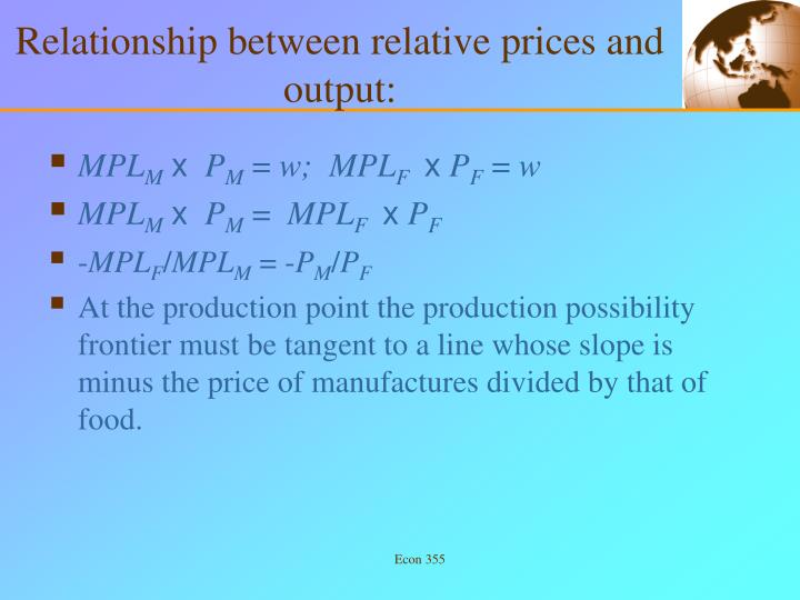 Relationship between relative prices and output: