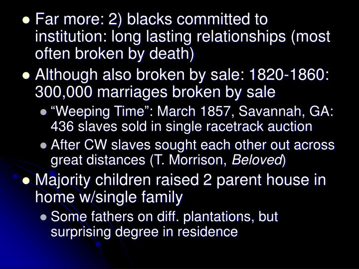 Far more: 2) blacks committed to institution: long lasting relationships (most often broken by death)