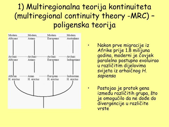 1) Multiregionalna teorija kontinuiteta (multiregional continuity theory -MRC) – poligenska teorija