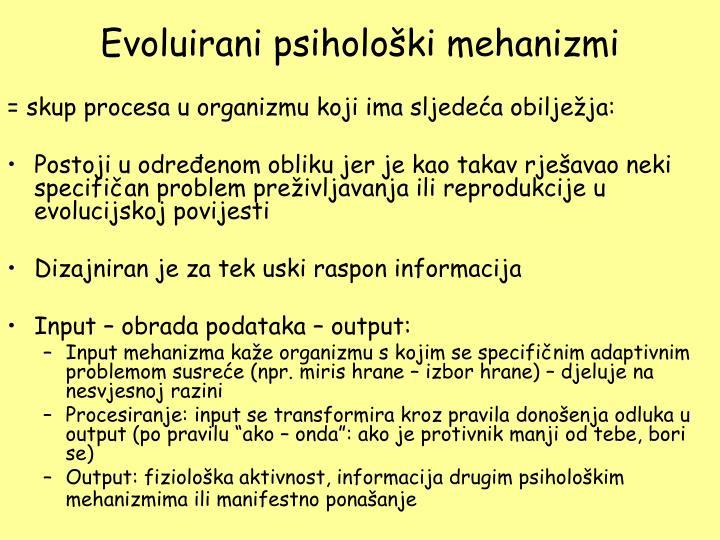Evoluirani psihološki mehanizmi