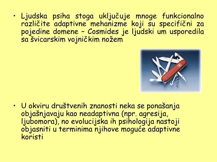 Ljudska psiha stoga uključuje mnoge funkcionalno različite adaptivne mehanizme koji su specifični za pojedine domene – Cosmides je ljudski um usporedila sa švicarskim vojničkim nožem