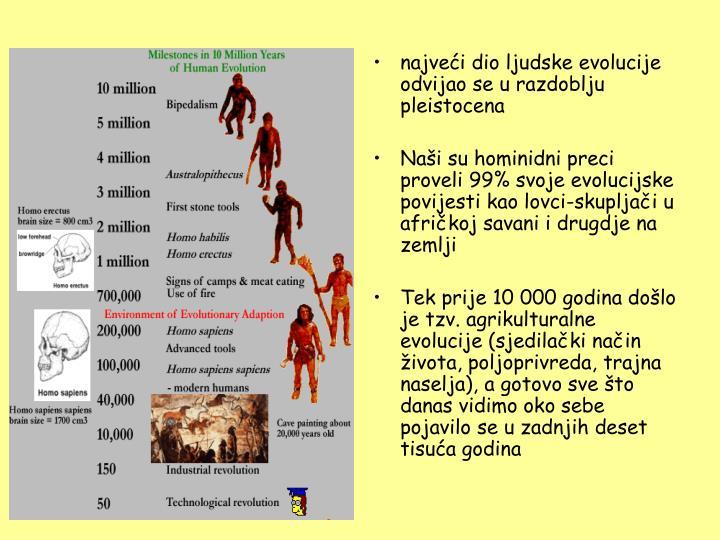najveći dio ljudske evolucije odvijao se u razdoblju pleistocena
